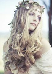 Vintagewedding haristyle with light curls and waves and flowers headbands.JPG
