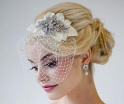 Winter wedding loose and low with crystal hairclip and net.JPG