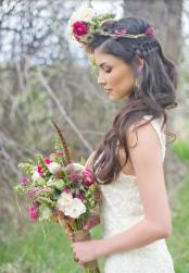 Unique winder bridal hairstyle  with long hair and braid and fresh flowers headband.JPG