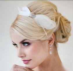 Blonde wedding hairstyle with low updo with feather hairclip and side band.JPG