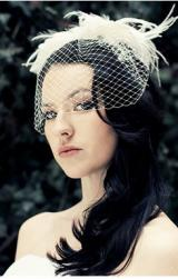 black long wedding angle style  with birdcage veil.JPG