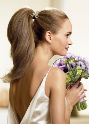 Long hair wedding hairstyle with simple yet elegant ponytail hairdo.PNG