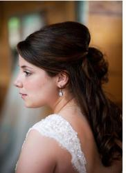Half updo wedding hairstyle with curls and straight bangs.JPG