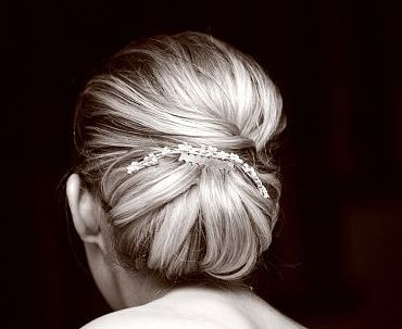 Classic wedding updo with crystal hair clip images.JPG