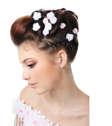 Picture of wedding hairstyle with full of small roses hair clips.PNG
