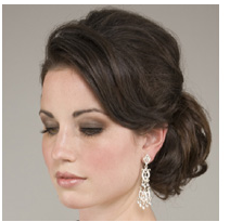 Dark brown classic bride hairstyle with low updo with sweept bang.PNG