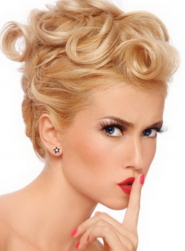 Curly blonde updo pictures with curly bangs