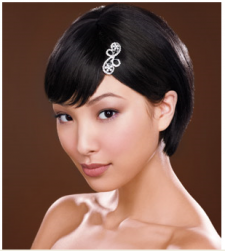 Asian short wedding hairstyle with long bang with elegant crystal hair clip.PNG
