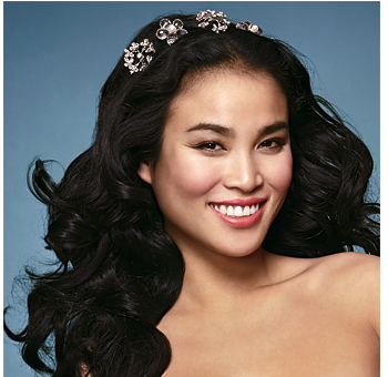 Asian Wedding Hairstyle on Long Asian Curly Bridal Hairstyle With Floral Hair Clips Png
