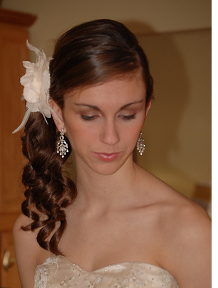 Wedding Hairstyle  Updo on Wedding Side Half Updo Hairstyle With Floran Hair Clip Png