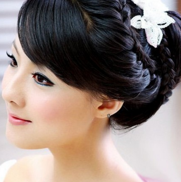 Asian Wedding Hairstyle: Asian Bridal Braid Updo With White Floral Hair Clip.PNG