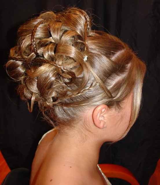 Wedding Hairstyles With Bangs For Long Hair: Wedding Braid Updo With Long Side Bangs With White Small