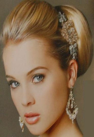 Photograph of sophisticated wedding updo hairstyle