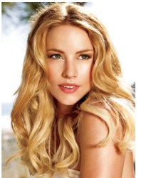 Long blonde down wedding hairystyle with very long wavy side bangs.PNG
