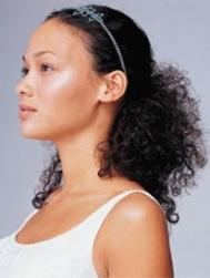 African American wedding half updo with head band.jpg