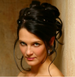 Black high wedding hairstyle with small dots hairstyle image.PNG