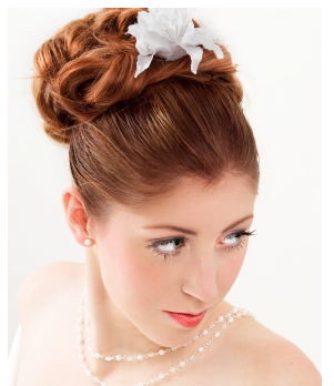 Red wedding hair with high updo and floral hairclip in white with bang pulled back.PNG