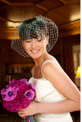 Simple bride hairstyle with net in front of the face.PNG