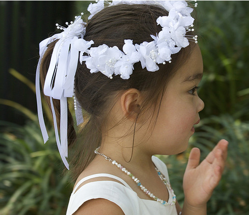Traditional flower girl hairstyle ideas with white floral headbandg mightylinksfo