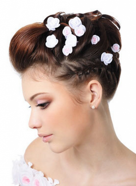 Photo of High wedding updo hairstyle w/ small roses hairclips