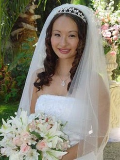 Superb Asian Woman Wedding Hairstyle With Veil And Tiara Hairstyles For Men Maxibearus