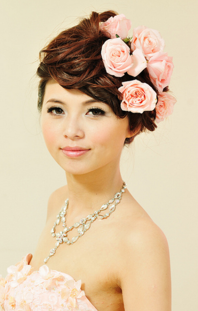 Image of sophisticated Asian brides updos w/ fresh pink roses