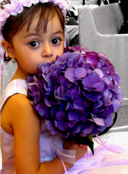 Pretty flower girl hairdo with fresh flowers head band in pink.PNG