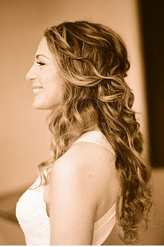 Image of Half down curly hairstyle