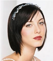 straight short bridal hair style with crystal head band.jpg