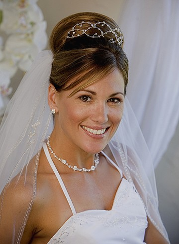 Picture of Wedding Hairstyles Half Up With Tiara And Veil